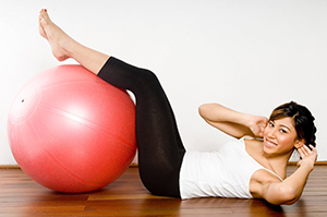 woman exercise ball